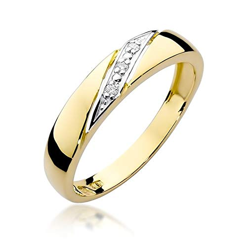 Damen Versprechen Ring Verlobungsring Antragsring 585 14k Gold Gelbgold natürlicher echt Diamant Brillanten
