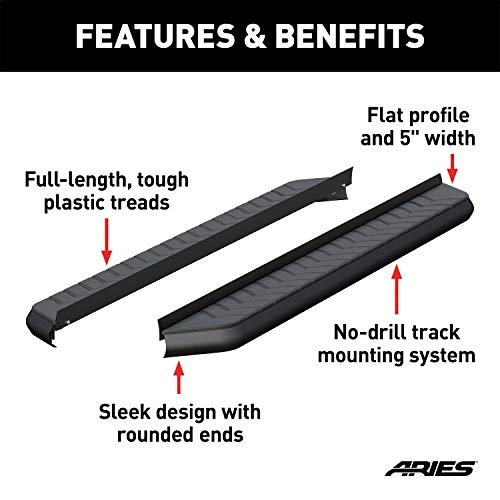 ARIES 2051970 AeroTread Running Boards 5 in. Carbide Black Powder Coat Aluminum Mounting Brackets Sold Separately AeroTread Running Boards