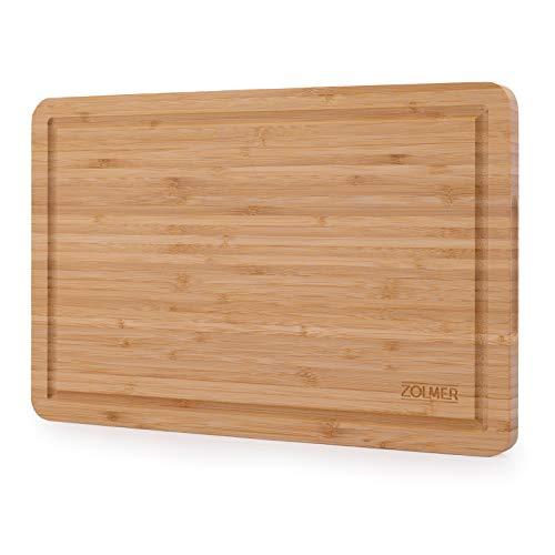 ZOLMER Schneidebrett aus Bambus - 38 x 25 x 2 cm - Hochwertiges und stabiles Küchenbrett aus Holz - Holzbrett - Cutting Board - Chopping Board