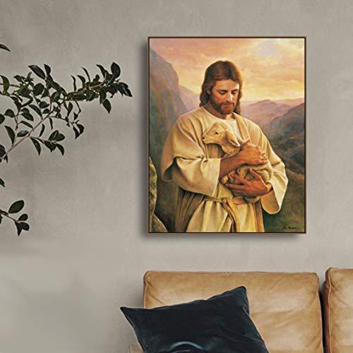 Danjiao Jesus Umarmte Das Lamm Leinwand Malerei Kalligraphie Leinwand Kunstdruck Wohnkultur Leinwand Wandkunst Bild Für Wohnzimmer Kirche Wohnzimmer 40x60cm