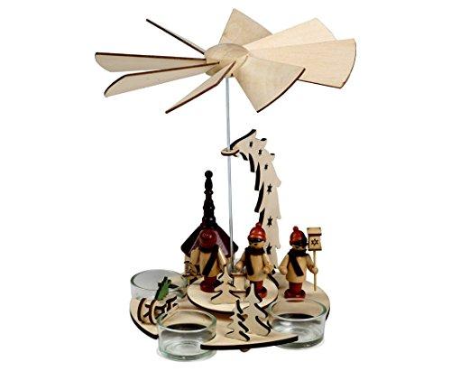 Teelichtpyramide Seiffen Kirche mit Laternenkindern, für 3 Teelichter, auch als Tischdekoration, stimmungsvoll