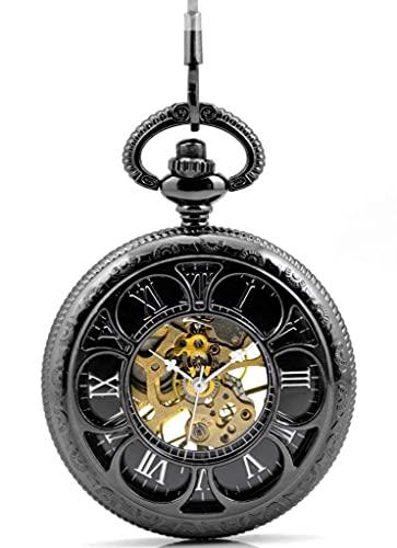 ZHAOJ Lucky 6 Leaf Clover Números Romanos Esqueleto Hueco Reloj de Bolsillo mecánico Negro