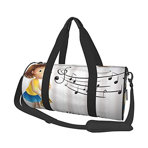 ADONINELP Reisetasche Seesack Mädchen Spielen Saxophon allein Muster mit Notizen auf hellem Hintergrund , Zylinder Reisetasche Mode Leinwand Licht Tragegurt Gepäcktasche