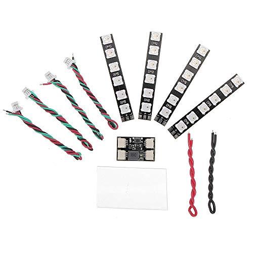 4 PZ WS2812 LED Strip Light 2-6S 7 Colori Commutabili con LED Controller Board per RC Drone