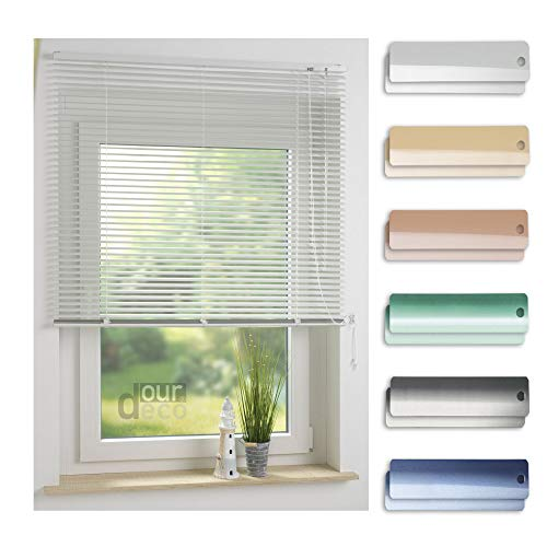 ourdeco® Aluminium-Jalousie / 220 x 160 Weiß (Breite x Höhe) / Montage an Wand oder Decke, Premium Alu-Jalousie