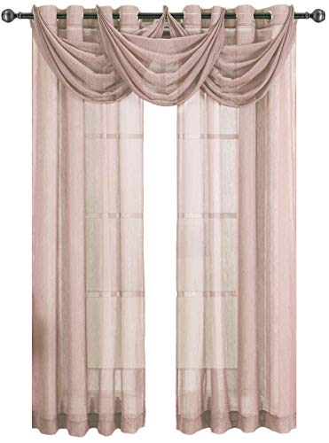 Royal Hotel Abri Mauve Grommet Crushed Sheer Curtain Panel, 50x63 inches