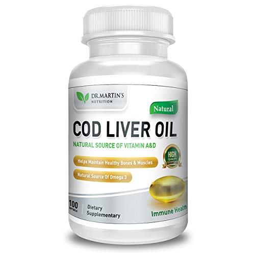 COD Liver Oil | 100 Softgels | Natural Source of Omega 3 Fatty Acids | Triple Strength | Best Immune Health, Healthy Bones & Muscles Dietary Supplement | (100 Softgels) (100)