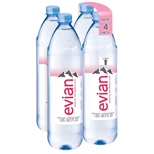 evian Natural Spring Water 1.25 Liter/42.27 Fl Oz (Pack of 4), Naturally Filtered Spring Water in Bulk-Size Water Bottles