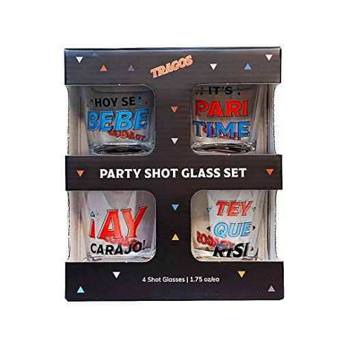 Tragos Party Glass Set - Funny Spanglish Drinking Glasses - Bar Accessories and Bar Set Glass Cups - Set of 4