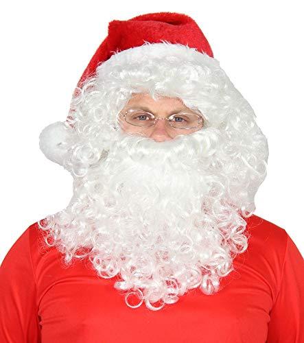Foxxeo 4-teiliges Weihnachtsmann Set - Perücke, Bart, Brille & Mütze - Nikolaus Kostüm