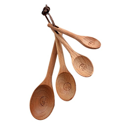 Sundarling Pack of 4 Wooden Beech Measuring Spoons Cups Baking Utensil Set Kitchen Tools Spoon
