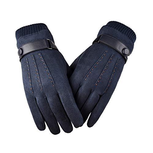 Riou Herren Touchscreen Handschuhe Wildleder Thermo Winterhandschuhe Outdoor Winddicht Rutschfest Fahrradhandschuhe
