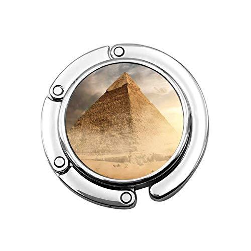 Perchero Plegable Lindo para Mesa, Gancho para Monedero Egipto Pirámide en Polvo de Arena bajo Nubes Grises Egipcio