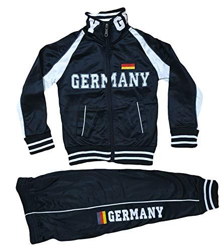 Kinder Jungen Mädchen Trainingsanzug Sportanzug Jogginganzug Hose Jacke Germany (Schwarz, 110/116)