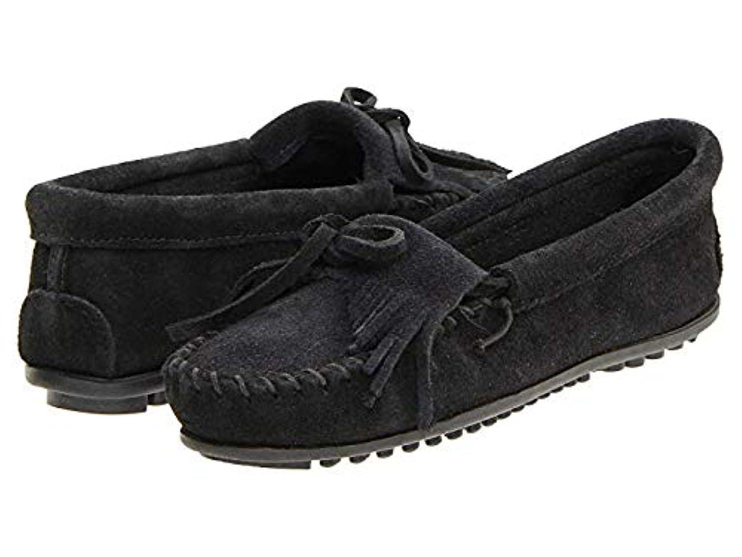 無条件不正薬用レディースローファー?靴 Kilty Suede Moc Black Suede (25.25cm) M [並行輸入品]