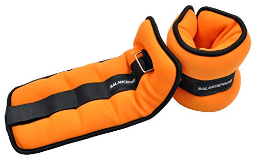BalanceFrom GoFit Fully Adjustable Ankle Wrist Arm Leg Weights, Adjustable Weights, Adjustable Strap, Orange, 10 lbs each (20-lb pair)