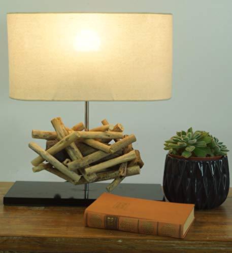 Lampe à Poser/lampe à Poser Leon, en Bali Spécimen Unique Fait à la Main en Matériau Naturel, Bois Flotté, Coton - Modèle Leon, Boisflotté, 42x35x16 cm, Lampes de Table en Matériaux Naturels