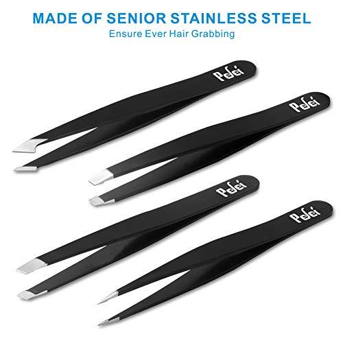 Product Image 1: Tweezers Set – Professional Stainless Steel Tweezers, Best Precision Tweezers for Eyebrows – Great Precision for Facial Hair, Ingrown Hair, Splinter, Blackhead and Tick Remover (Black)