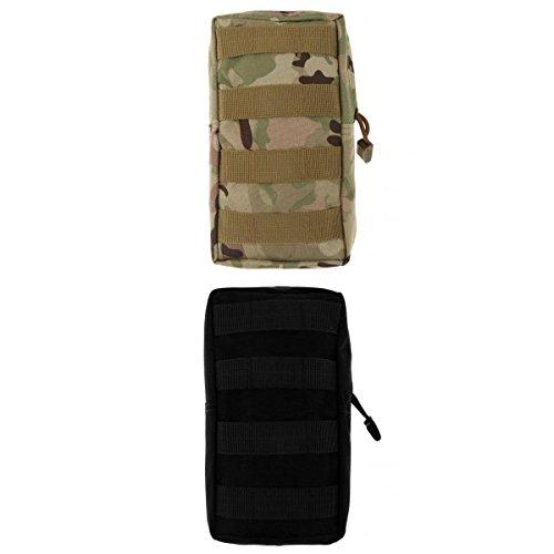 Lot 2pcs Modulaire Pochette Sac Utilitaire Accessoire Militaire -Noir + CP Camouflage