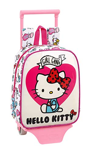 Hello Kitty Mochila guardería ruedas, carro, trolley