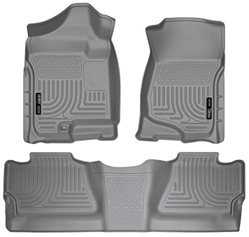 Husky Liners - 98202 Fits 2007-13 Chevrolet Silverado/GMC Sierra 1500 Crew Cab, 2007-14 Chevrolet Silverado/GMC Sierra 2500/3500 Crew Cab Weatherbeater Front & 2nd Seat Floor Mats (Footwell Coverage) Grey