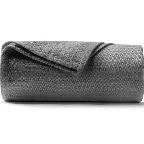 DANGTOP Doppelgröße Kühldecken, 100% Bambus-Decke für alle Jahreszeiten, ultra-coole leichte Decke, Kühldecke absorbiert Körperwärme, um in warmer Nacht kühl zu halten (149,9 x 200,7 cm, dunkelgrau)