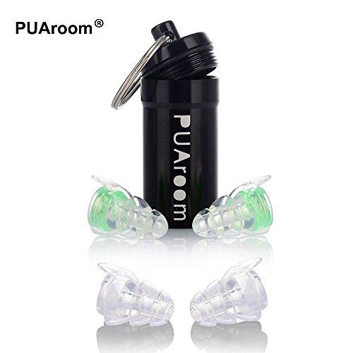 PUAroom Protección Auditiva Tapones para los oídos,2 pares de auriculares de silicona reutilizables con soporte de aluminio, ideal para músicos, concierto, festival, club, batería, DJ(Verde)