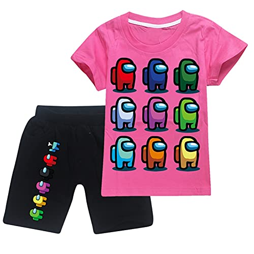 Amo-Ng Us Toddler Short Sleeve T-Shirt and Shorts 2 Pieces Set Boys and Girls Summer Tracksuit 13-14y