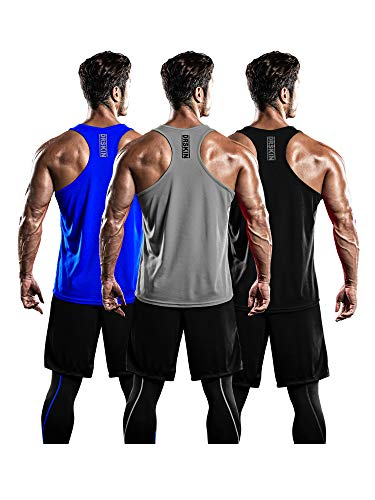 DRSKIN Men's 3 Pack Dry Fit Y-Back Muscle Tank Tops Mesh Sleeveless Gym Bodybuilding Training Athletic Workout Cool Shirts (BTF-ME-TA-(B,G,BL), S)