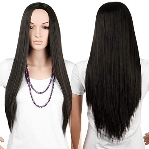 Preto natural, liso, feminino 3/4 meia queda peruca lisa/ondulada/encaracolada resistente ao calor, peruca de extensão de cabelo sintético sem franja
