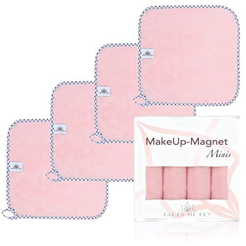 FACES OF FEY Make-Up-Magnet - Abschminktücher Mikrofaser - beidseitig verwendbare Gesichtsreinigungstücher - Make-Up-Entferner-Tuch waschbar und wiederverwendbar - 4er Pack 25x25cm