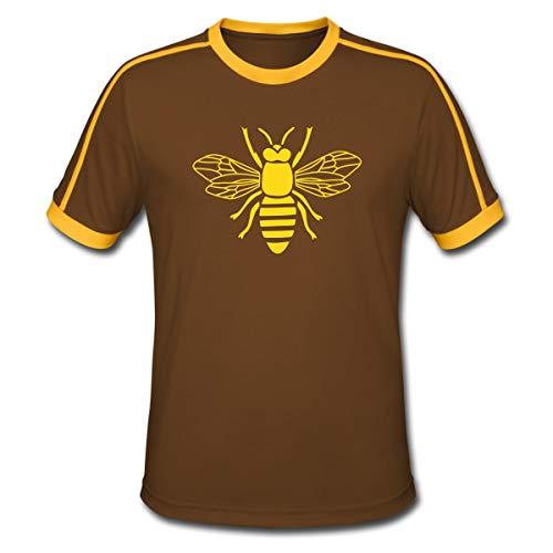 Biene Hummel Wespe Insekt Fleißig Bienchen Männer Retro-T-Shirt, L, Chocolate/Sun