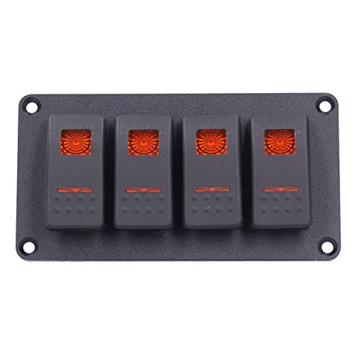 Mothinessto Panel de Palanca Panel de Interruptor Universal Interruptor basculante Protección contra sobrecalentamiento para vehículo Marino de 12V / 24V(C (Orange))