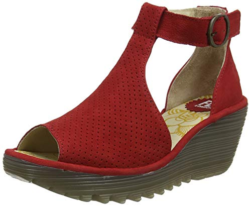 Fly London Women's T-Bar Sandals, Red Lipstick Red 007, 39