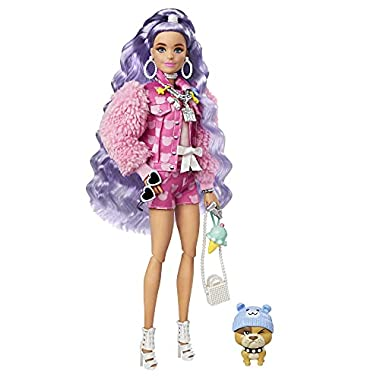 Barbie Extra Doll #6 in Pink Teddy Bear Print Denim Jacket & Matching Shorts with Pet Puppy, Long Periwinkle Hair…
