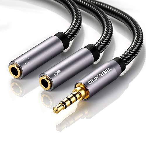 イヤホン分岐ケーブル DuKabel 3.5mm オーディオ変換ケーブル 4極 ステレオオーディオ(オス)⇔イヤホン×3極イヤホン・マイク分配ケーブル ゲーミングヘッドセット ヘッドホン延長ケーブル スマホ タブレット パソコンに対応 4極マイク対応不可