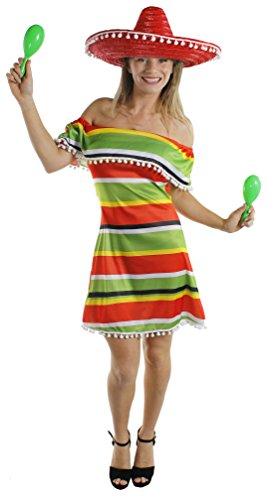 Déguisement de la parfaite Méxicaine avec cette magnifique robe épaules dénudées aux couleurs chaudes et pompons blancs + un sombrero rouge pour adulte. Ideal pour les enterrements de vie de jeune fille.