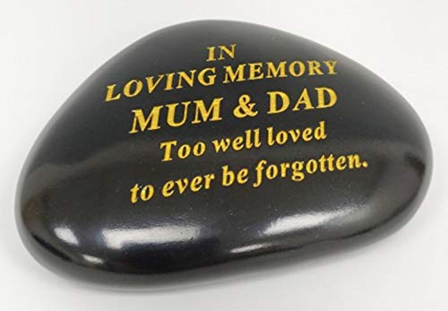 MUM & DAD Memorial Black & Gold Pebble Garden Ornament Stone/Rock Effect 14.5 x 10 cm
