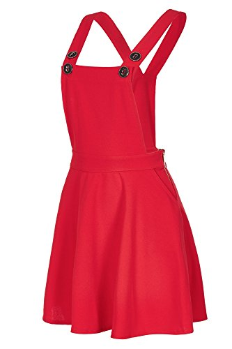 Laeticia Dreams - Vestito scamiciato da donna, gonna a salopette, effetto jeans, XS S M L XL Colore: rosso 46