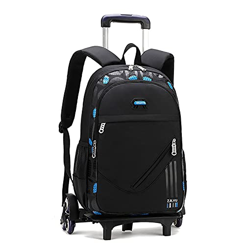 Bansusu Black Primary Middle School Bag Rolling Backpack for Elementary Boys Wheeled Bookbag Ruckack with Six Wheels