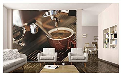 Relovsk muurschildering koffiemachine drinken voedsel behang muurschildering foto restaurant keuken poster decoratie 200cmx140cm