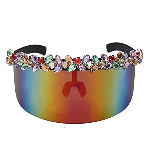 WANGZX Gafas De Sol De Diamante Súper Grandes Gafas De Sol De Una Pieza Retro Espejo De Color Cristal Protector Solar Uv400 1