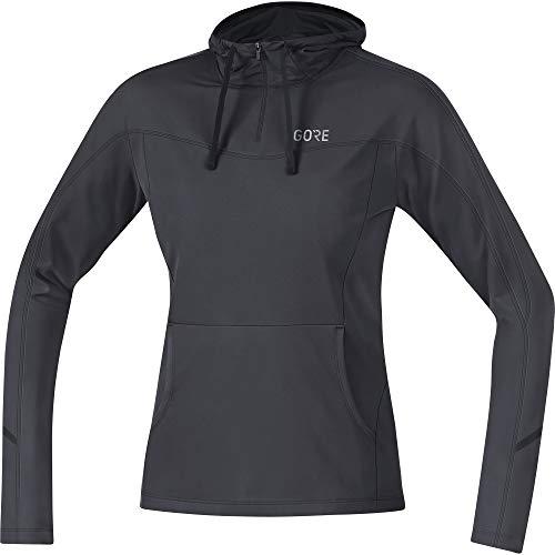 GORE WEAR Femme Sweat-shirt à capuche de course respirant, R3 Women Hoodie, 38, Gris foncé/Noir, 100075