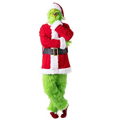 W-life Costumi Adulti Grande Costume di Babbo Natale Grinch Deluxe Furry 7Pcs Cosplay Set Vestito Operato con I Guanti Cappello Verde dei Capelli Mostro Maschera for Natale (Size : Medium)