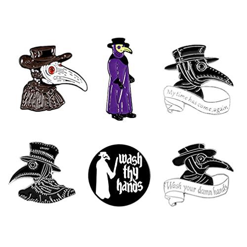 ABOOFAN 6 broches de esmalte de la plaga Doctor Pin de la cara del pico Steampunk de la historieta insignia para el bolso Pin de la solapa hebilla de la joyería regalo para las mujeres