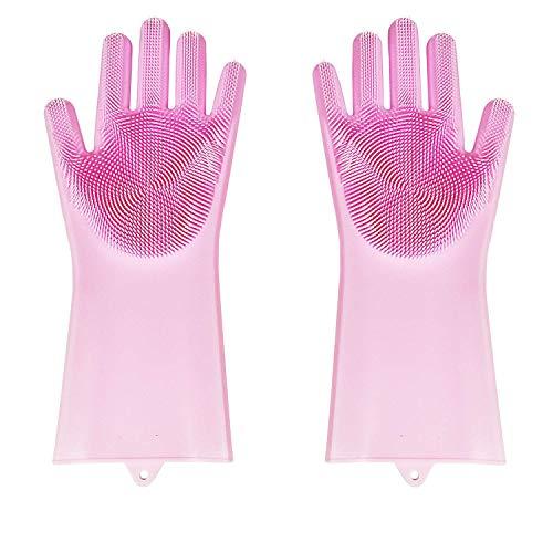 BAMOMBY 2PCS Silikon-Handschuhe mit Wash Scrubber, Magic Food-Grade-Silikon-Reinigungsbürste Scrubber, hitzebeständige wasserdichte...
