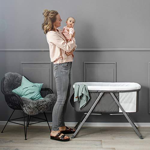 Hauck Dreamer Babywiege/Stubenwagen/Beistell-/Reisebett, inkl. Matratze und Spielzeugtasche, mit Schaukelfunktion, faltbar, klappbar und tragbar, Grau - 19