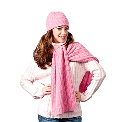 Modassori Damen Strickschal 200 x 28cm kuschelig weich Angora Kaschmir Wolle Pink