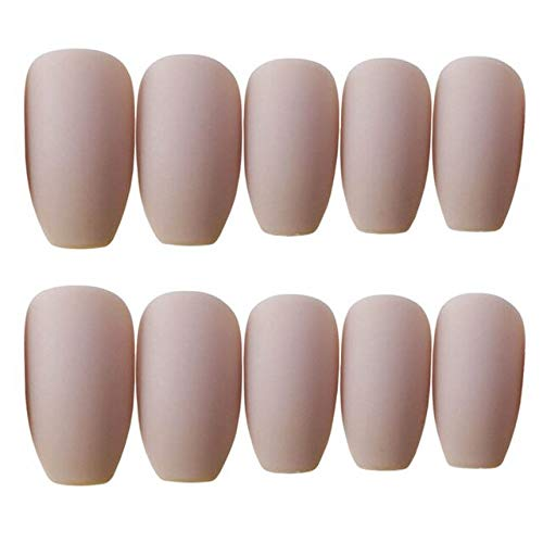 DKHF Valse nagels 24st Fake Press On Nails Lange ronde kop Khaki Matt Fake Nails