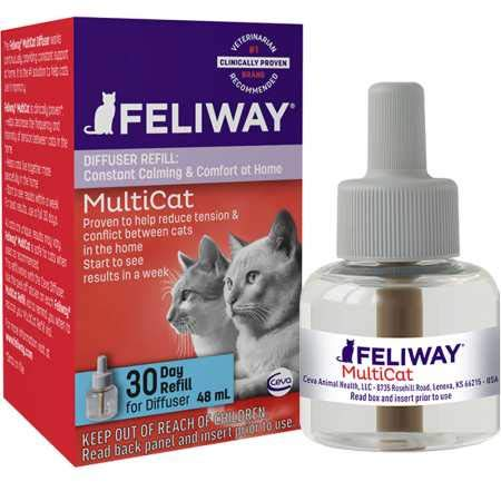 Feliway MultiCat Calming Diffuser Refill (1 pack, 48 ml) | Vet Recommended | Reduce Fighting and Conflict Among Cats